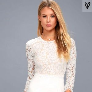 "Lulus "" she knows white lace bodycon dress"""